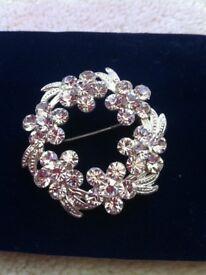 Beautiful Silver diamante brooch