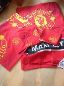 Manchester United single duvet cover with pillowcase and 2012 season flag