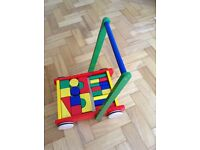 Pintoy wooden baby walker with blocks