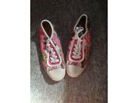 Pink rocket dog converse style shoes size six