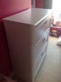 IKEA white triple wardrobe and drawers