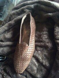 Italian woven leather flats size 40.5