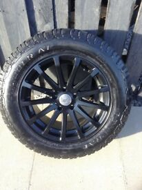 All terrain tyres and satin black alloy wheels