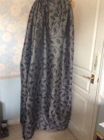 """Black/grey brocade effect, pencil pleat curtains 72"""" length x 66"""", fits up to 80inch width win"""