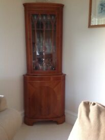 Reproduction Yew corner unit, part glazed and cupboard