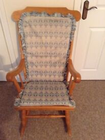 Rocking Chair, Solid Pine with Removable Back and Seat Covers