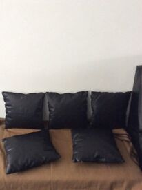 Cushions black leather only £2