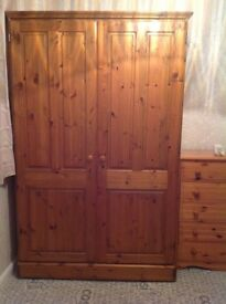 Ducal Antique pine double wardrobe. Ideal as is or as a shabby chic project.