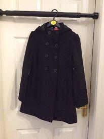 Girls M&S black tailored coat age 9-10