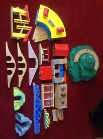 Huge job lot of brio elc trains and track system with road and big jig train.