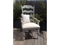 Chair painted in Farrow & Ball French Grey French country Vintage furniture Crafting Wedding Shabby