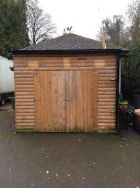 Wooden shed. Double doors