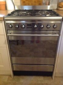 Smeg stainless steel dual fuel cooker. Single oven. Standard 60cm width.