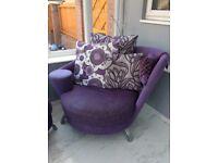 Purple sofa, armchair and pouffe