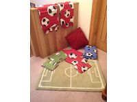 Next Football Bedroom Set - curtains, rug, single duvet x 2, blanket, cushion.