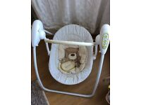 Mothercare baby chair with 5 speed modes and music.