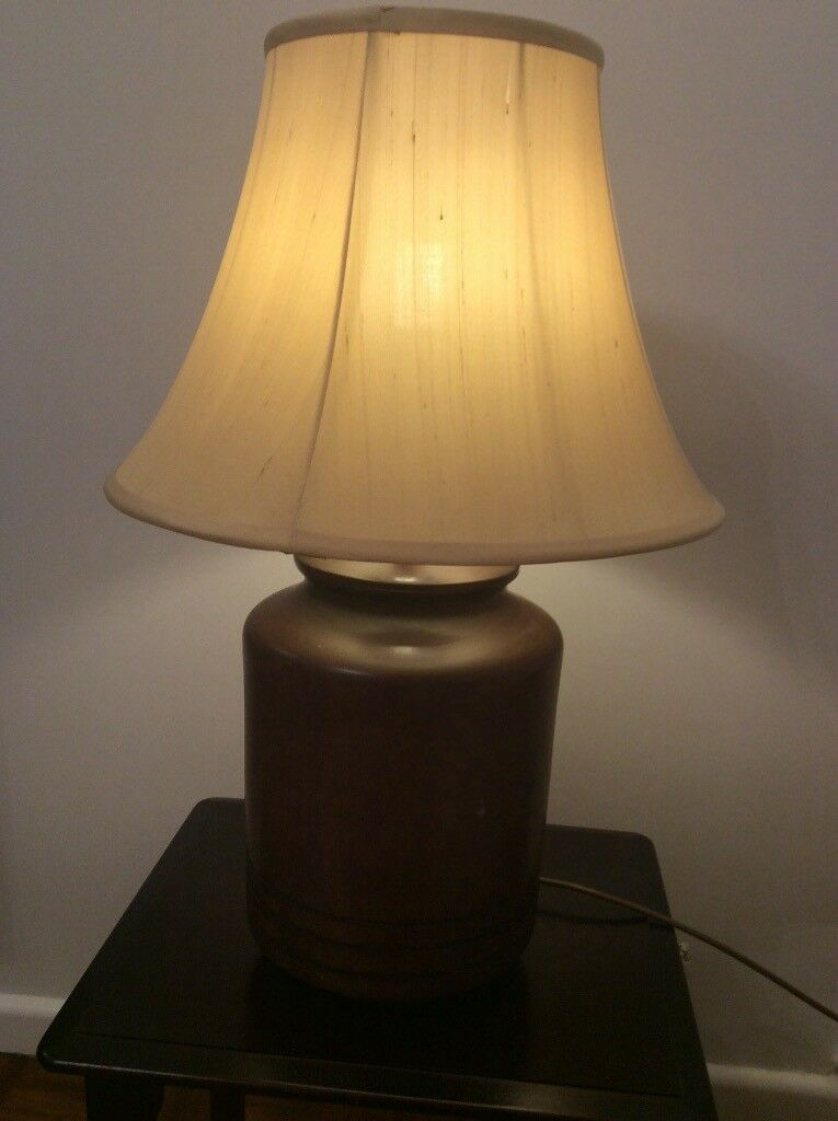 Table Lamp With Wooden Base And Gold Pale Yellow Lampshade