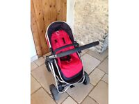 iCandy Strawberry travel system inc pram & pushchair unit, pomegranate red. Immaculate condition