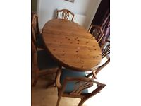 Dining Table & 6 chairs Ducal Victorian Pine Extendable Oval Table & 6 Chairs
