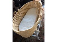 John Lewis Moses basket with stand and bundle nearly new