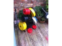 Cast iron weights, bars and rack