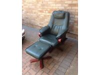 Leather chair & foot stool