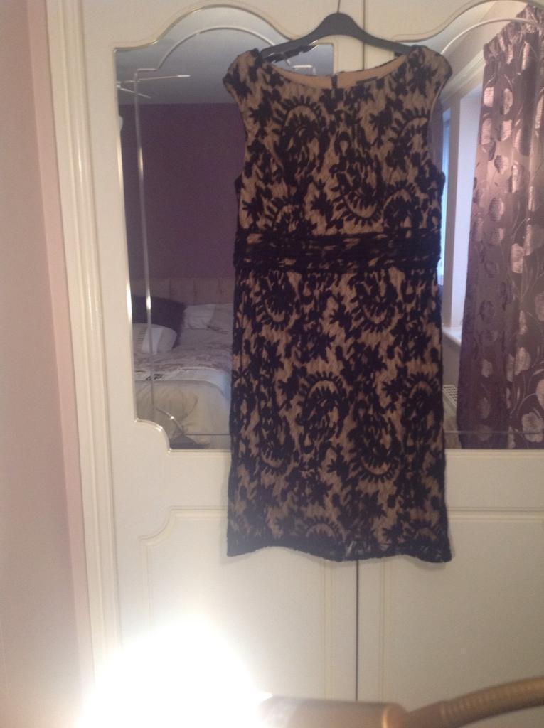 Designer dress black lace over cream Designer label Adrianna Parell. Bought at TKMax worn once.