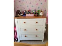 White and pine 3 drawer unit