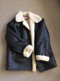 Sheepskin lined leather flying jacket size XXL