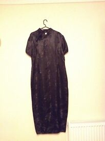 Chinese style long black dress (Size 14)