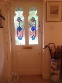 """Front door with two coloured glazed panels 6 ft 6"""" x 2 ft 8"""""""