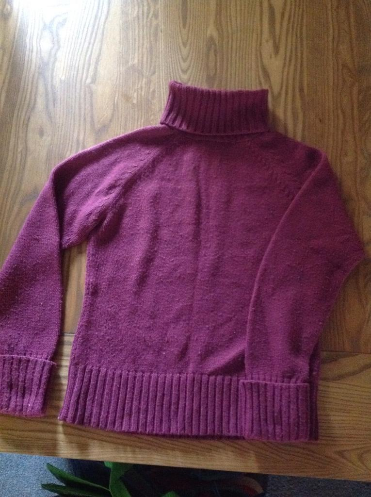 Lovely Raspberry Polo Neck Jumper