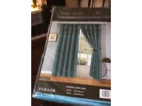 Teal curtains . 90 x 90 unopened.