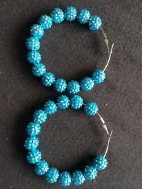 Aqua Shambala Hoop Earrings