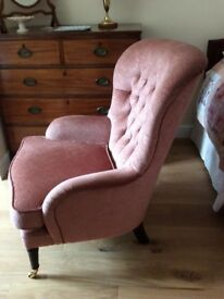 Armchair, button back, low arms, elegant looking