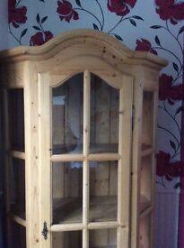 Pine Display Cabinet Unit