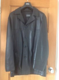 Men's Black Leather Mid Length Jacket