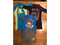 Three boys sun protection swimsuits aged 18-24 months