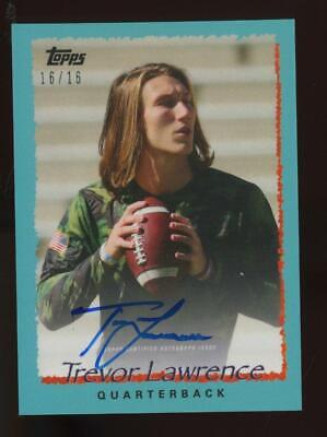 2021 Topps X Teal Trevor Lawrence Jersey #16/16 Auto RC Rookie