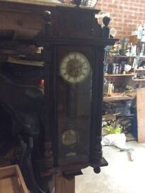Victorian wall clock, in good working order.