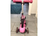 Yvolution Yglider 3 in 1 pink & black scooter
