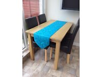 Table and four chairs wooden