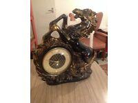 Vintage clock, ceramic, horse motif, kitsch, retro, bronze coloured, gold highlights