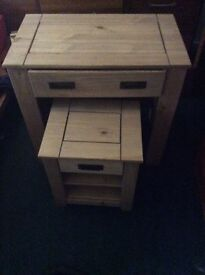 Solid wood .Dressing table and bedside drawer. BNIB
