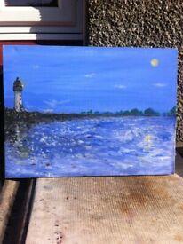 A3 size, varnished, Lighthouse CANVAS ART.