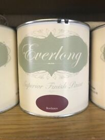 1 litre tin of Everlong Chalk Paint in Bordeaux - new and sealed - perfect for upcycling furniture