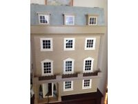 Fantastic 8 Room Georgian style dolls house. Lights and all furnishings and family included