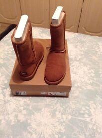 Short chestnut ugg boots size 8