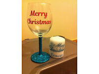wine glass glitter christmas gift personalised candle hamper