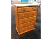 Lovely solid pine two over four chest of drawers